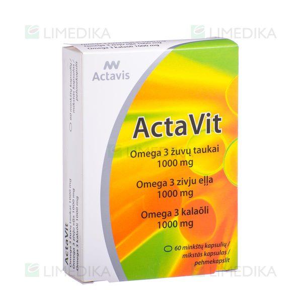 ACTAVIS ACTAVIT ŽUVŲ TAUKAI OMEGA-3, 1000 mg, 60 minkštųjų kapsulių